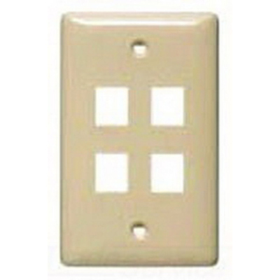 Hubbell Wiring Device-Kellems NSP14AL Hubbell Wiring NSP14AL Netselect® Standard Size 1-Gang Label-Less Multimedia Face Plate; Wall/Flush/Screw Mount, High Impact-Resistant Thermoplastic, Almond