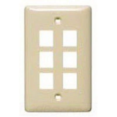 Hubbell Wiring Device-Kellems NSP16AL Hubbell Wiring NSP16AL Netselect® Standard Size 1-Gang Label-Less Multimedia Face Plate; Wall/Flush/Screw Mount, High Impact-Resistant Thermoplastic, Almond