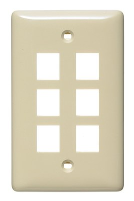 Hubbell Wiring Device-Kellems NSP16I Hubbell Wiring NSP16I Netselect® Standard Size 1-Gang Multimedia Face Plate Without Label; Flush/Screw Mount, High Impact-Resistant Thermoplastic, Ivory