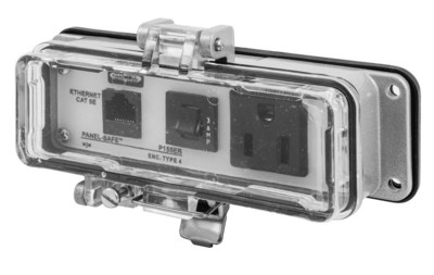 Hubbell Wiring Device-Kellems P155EB Hubbell Wiring P155EB Panel-Safe™ Industrial Connectivity Cat 5e Ethernet Access With 3 Amp Circuit Breaker; 15 Amp, 125 Volt, Screw Mount, Clear Cover Gray