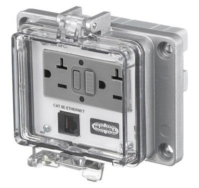 Hubbell Wiring Device-Kellems P205EDB9 Hubbell Wiring P205EDB9 Panel-Safe™ GFCI With Cat5/DB9 Ethernet Access; Screw Mount, Gray/Clear