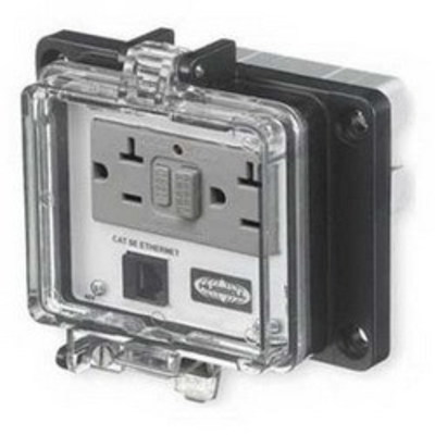 Hubbell Wiring Device-Kellems P5E Hubbell Wiring P5E Panel-Safe™ Industrial Connectivity Cat 5e Ethernet Access; Screw Mount, Clear Cover Gray