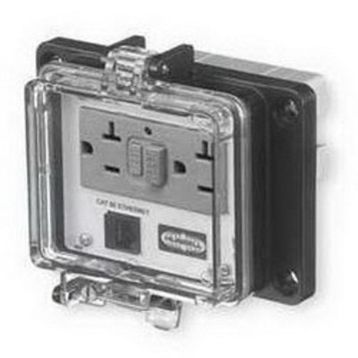 Hubbell Wiring Device-Kellems PR4X205E Hubbell Wiring PR4X205E Panel-Safe™ Industrial Connectivity GFCI with In-Cabinet Receptacle and Cat 5e Ethernet Access; 20 Amp, 125 Volt, Screw Mount, Clear Cover Gray