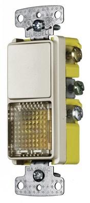 Hubbell Wiring Device-Kellems RCD309LA RCD309LA HUBBELL WD COMBO, 15A 3W RKR, PILOT/ILLUM, LA