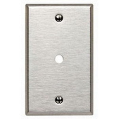 Hubbell Wiring Device-Kellems SS11L Hubbell Wiring SS11L 1-Gang Telephone and Coaxial Outlet Plate; Box/Wall Mount, 302/304 Stainless Steel