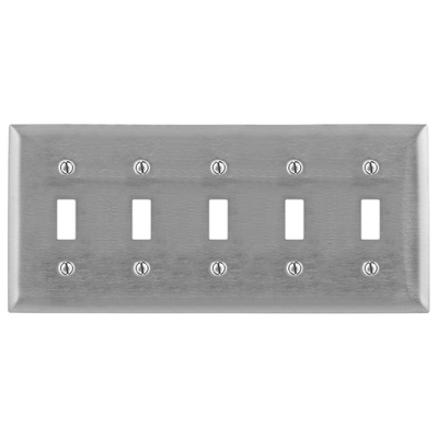 Hubbell Wiring Device-Kellems SS5C Hubbell Wiring SS5C 5-Gang Wallplate; (5) Toggle, Screw Mount, 302/304 Stainless Steel