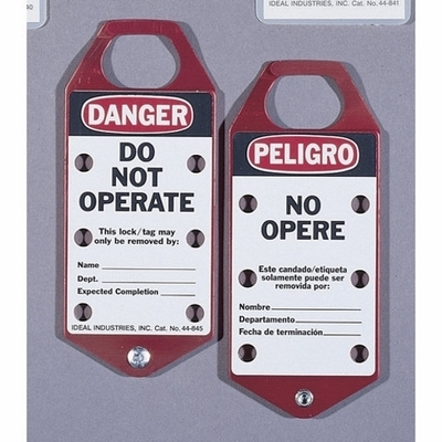 Ideal 44-841 Ideal 44-841 Bilingual Lockouts and Tag; Laminated Plastic, Red, Danger, DO NOT OPERATE