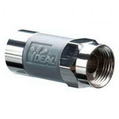 Ideal 85-068 Ideal 85-068 TLC™ RG6 Tool Less Compression Connector; 5 Mega-Hz - 3 Giga-Hz, Brass, Nickel-Plated
