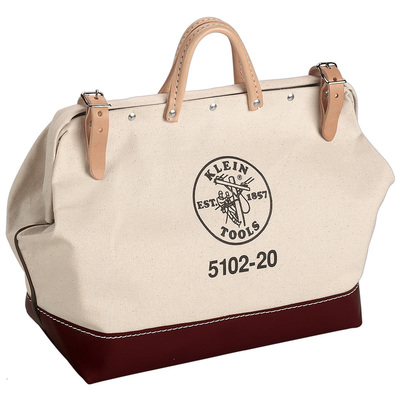 Klein Tools 510220 Klein Tools 5102-20 Tool Bag; No. 8 Canvas Body and Naugahyde Bottom, White
