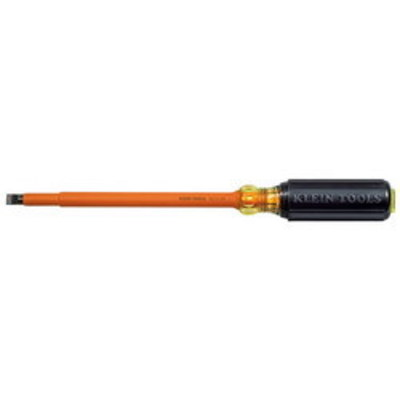 Klein Tools 6028INS Klein Tools 602-8-INS Insulated Round Shank Screwdriver; 3/8 Inch Tip, 13-3/8 Inch Overall Length