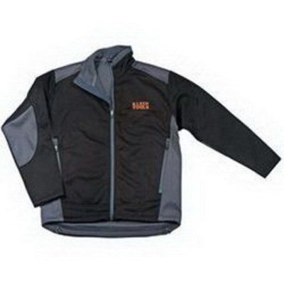 Klein Tools 96616BLKXL Klein Tools 96616BLK-XL Soft Shell Jacket; X-Large, Polyester Interlock Surface, Polyester Fleece Laminated, Black and Gray