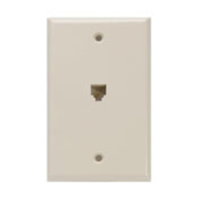Leviton 40249-I Leviton 40249-I Decora® Wall Plate Jack; Box Mount, 6P4C, Ivory
