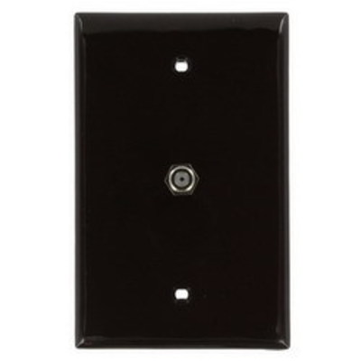 Leviton 40539-MB Leviton 40539-MB Midsize Telephone and Video Wallplate; F Connector, Flush Mount, Nylon, Brown