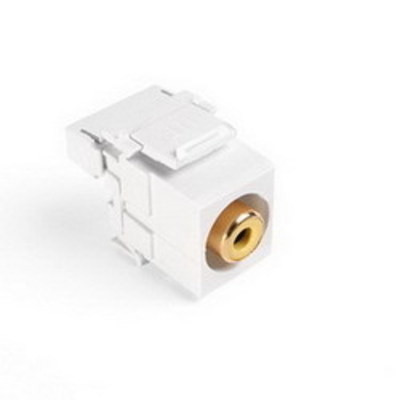 Leviton 40735-RYW Leviton 40735-RYW QuickPort® RCA 110 Punchdown Category 5 Connector; Snap-In/Surface/Flush Mount, White/Yellow