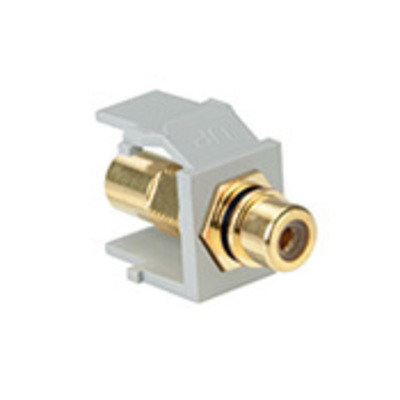 Leviton 40830-BGE Leviton 40830-BGE QuickPort® Feed-Through RCA Connector; 0.580 Inch Width x 1.200 Inch Depth x 0.640 Inch Height, Plastic, Gold Plated, Black Stripe, Gray Housing
