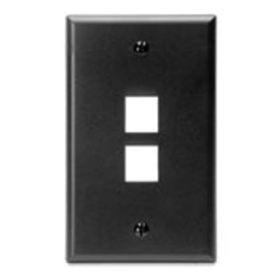Leviton 41080-2EP Leviton 41080-2EP 1-Gang Standard Wallplate; Box, (2) Port, High Impact Flame Retardant Plastic, Black
