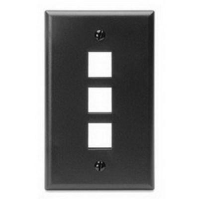 Leviton 41080-3EP Leviton 41080-3EP 1-Gang Standard Wallplate; Box, (3) Port, High Impact Flame Retardant Plastic, Black