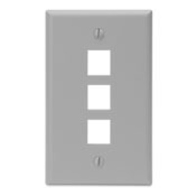 Leviton 41080-3GP Leviton 41080-3GP 1-Gang Standard Wallplate; Box, (3) Port, High Impact Flame Retardant Plastic, Gray