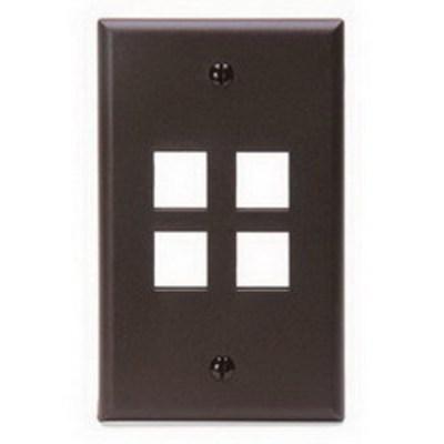 Leviton 41080-4BP Leviton 41080-4BP 1-Gang Standard Wallplate; Box/Flush, (4) Port, High Impact Flame Retardant Plastic, Brown
