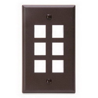 Leviton 41080-6BP Leviton 41080-6BP 1-Gang Standard Wallplate; Box, (6) Port, High Impact Flame Retardant Plastic, Brown