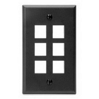 Leviton 41080-6EP Leviton 41080-6EP 1-Gang Standard Wallplate; Box, (6) Port, High Impact Flame Retardant Plastic, Black