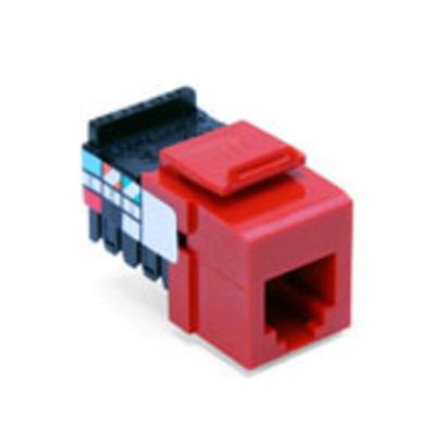 Leviton 41106-RC6 Leviton 41106-RC6 QuickPort® USOC Snap-In Connector; 6P6C, 110 Punch Down, Surface/Flush Mount, Crimson