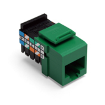 Leviton 41108-RV3 Leviton 41108-RV3 QuickPort® Category 3 UTP Jack Connector; Mated (8P8C) Front x 110 IDC, Green
