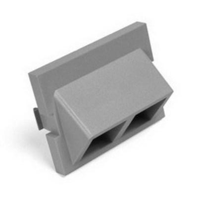 Leviton 41294-2QG Leviton 41294-2QG QuickPort® Angled 1.5U MOS Adapter Module; 2-Port, Snap-On/Surface Mount, Fire-Retardant Plastic, Gray