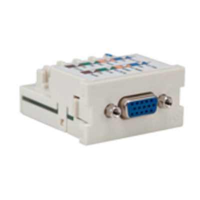 Leviton 41295-VPT Leviton 41295-VPT Termination MOS Module; (15 Pin Female High) Density D Sub VGA Connector, Polycarbonate, Light Almond
