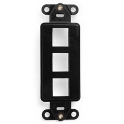 Leviton 41643-E Leviton 41643-E 1-Gang Multimedia Insert; Flush, (3) Port, High Impact Flame Retardant Plastic, Black