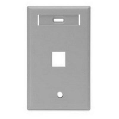 Leviton 42080-1GS Leviton 42080-1GS 1-Gang Standard Wallplate With ID Window; Box/Flush, (1) Port, High Impact Flame Retardant Plastic, Gray