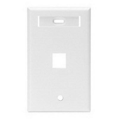 Leviton 42080-1WS Leviton 42080-1WS 1-Gang Standard Wallplate With ID Window; Box/Flush, (1) Port, High Impact Flame Retardant Plastic, White