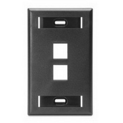 Leviton 42080-2ES Leviton 42080-2ES 1-Gang Standard Wallplate With ID Window; Flush, (2) Port, High Impact Flame Retardant Plastic, Black