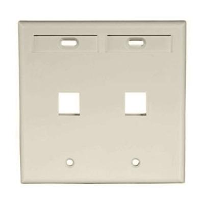 Leviton 42080-2IP Leviton 42080-2IP 2-Gang Standard Wallplate With ID Window; Box/Flush, (2) Port, High Impact Flame Retardant Plastic, Ivory