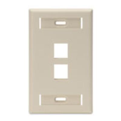 Leviton 42080-2IS Leviton 42080-2IS 1-Gang Standard Wallplate With ID Window; Box/Flush, (2) Port, High Impact Flame Retardant Plastic, Ivory