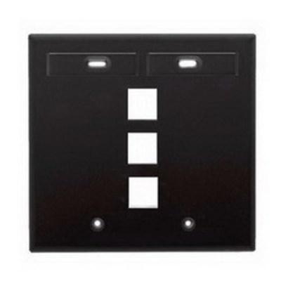 Leviton 42080-3EP Leviton 42080-3EP QuickPort® Wallplate With ID Windows; 2-Gang, 3-Port, Box Mount, Black