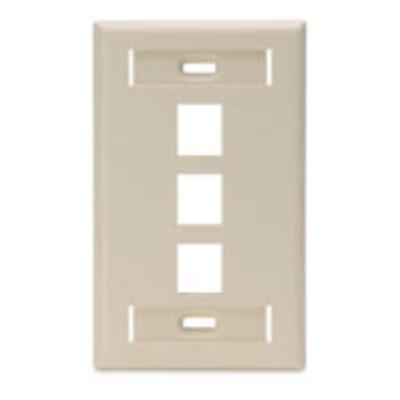 Leviton 42080-3IS Leviton 42080-3IS 1-Gang Standard Wallplate With ID Window; Box/Flush, (3) Port, High Impact Flame Retardant Plastic, Ivory