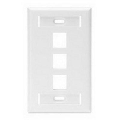 Leviton 42080-3WS Leviton 42080-3WS 1-Gang Standard Wallplate With ID Window; Box/Flush, (3) Port, High Impact Flame Retardant Plastic, White