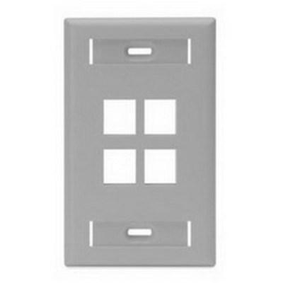 Leviton 42080-4GS Leviton 42080-4GS 1-Gang Standard Wallplate With ID Window; Box/Flush, (4) Port, High Impact Flame Retardant Plastic, Gray