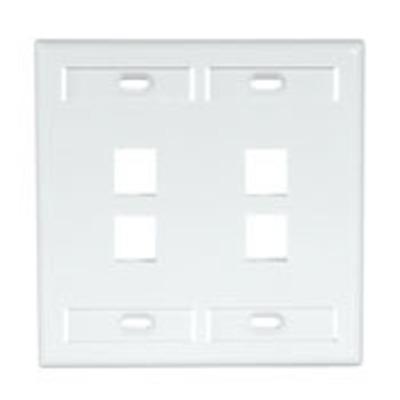 Leviton 42080-4WP Leviton 42080-4WP 2-Gang Standard Wallplate With ID Window; Box/Flush, (4) Port, High Impact Flame Retardant Plastic, White