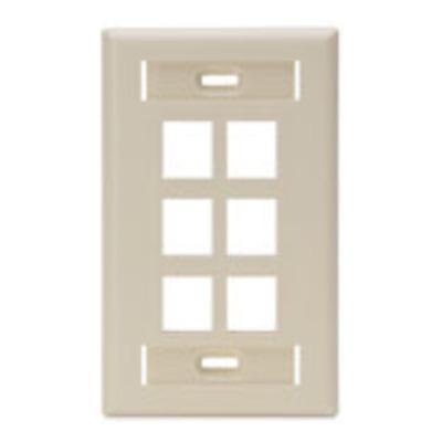 Leviton 42080-6IS Leviton 42080-6IS 1-Gang Standard Wallplate With ID Window; Box/Flush, (6) Port, High Impact Flame Retardant Plastic, Ivory