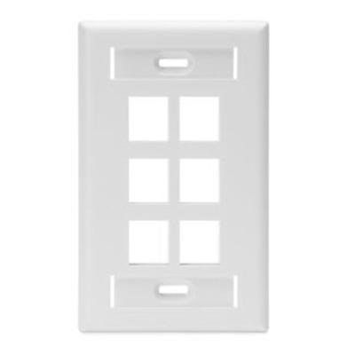 Leviton 42080-6WS Leviton 42080-6WS 1-Gang Standard Wallplate With ID Window; Box/Flush, (6) Port, High Impact Flame Retardant Plastic, White
