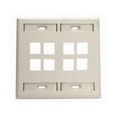 Leviton 42080-8IP Leviton 42080-8IP 2-Gang Standard Wallplate With ID Window; Flush, (8) Port, High Impact Flame Retardant Plastic, Ivory