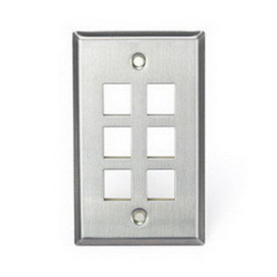 Leviton 43080-1S6 Leviton 43080-1S6 1-Gang Wallplate; Snap-In, (6) Port, 304 Stainless Steel