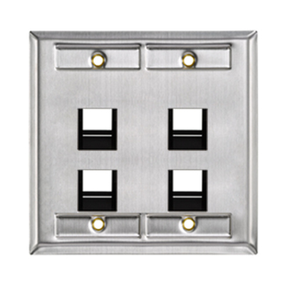 Leviton 43081-2L4 Leviton 43081-2L4 QuickPort® 2 Gang Angled Wallplate With ID Window; 4-Port, 304 Stainless Steel, ABS Plastic Carrier