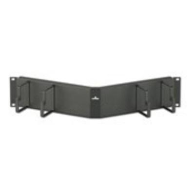 Leviton 49254-LPM Leviton 49254-LPM Angled Horizontal Patch Cord Organizer; 1-Rack Unit, 16 Gauge Steel, Black, Powder-Coated