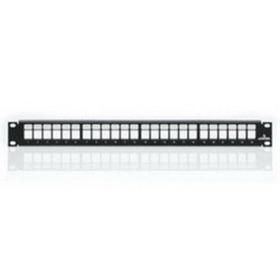 Leviton 49255-H24 Leviton 49255-H24 QuickPort® Multimedia Patch Panel & Management Bar; Rack Mount, 24-Port, 1-Rack Unit, Black
