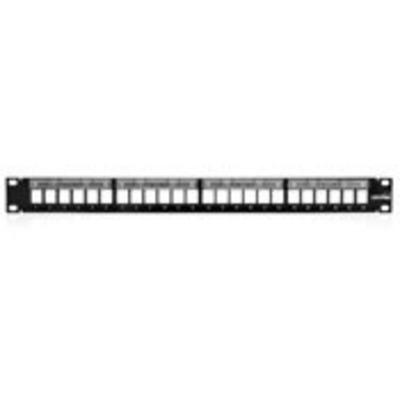 Leviton 49255-L24 Leviton 49255-L24 QuickPort® Patch Panel; Rack Mount, 24-Port, 1-Rack Unit, Black
