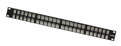 Leviton 49255-Q48 Leviton 49255-Q48 QuickPort® High Density Patch Panel; Rack Mount, 48-Port, 1-Rack Unit, Black