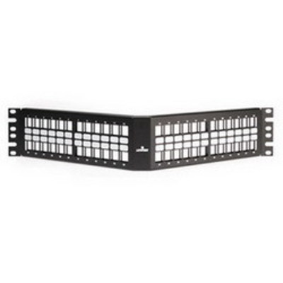 Leviton 49256-H48 Leviton 49256-H48 QuickPort® Angled Field Patch Panel; Rack Mount, 48-Port, Black